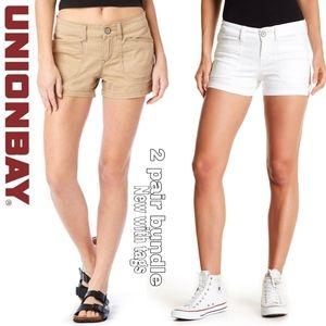 Unionbay NWT set of 2 size 7 shorts white & khaki